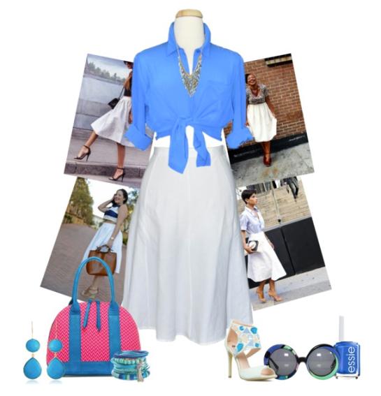 Beautiful White Midi Skirt by dazzlingemeraldplussizes