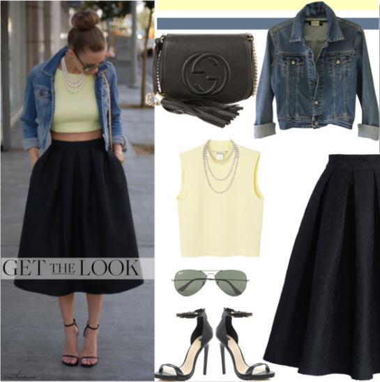 Midi Skirt + Crop Top + Denim Jacket by arethaman