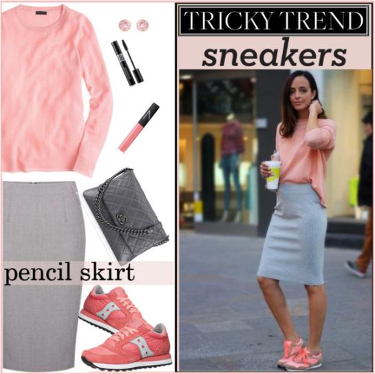 Pencil Skirt & Sneakers Pink:Grey by melindairenes